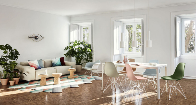 Vitra Eames Sidechair mit Plate Dining Tabe Esszimmer