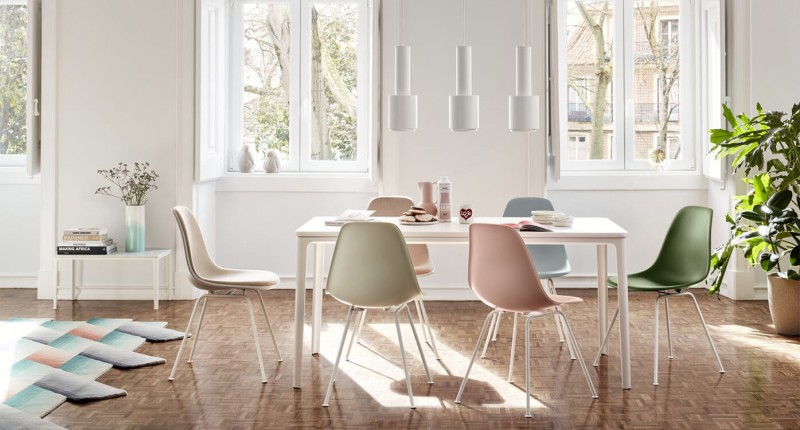 Vitra Plate Dining Table Marmor mit DAX Armchair und DSX Sidechair - Home Stories for Spring 2020