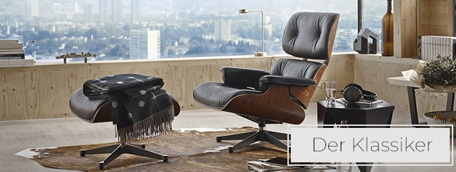 Vitra Lounge Chair & Ottoman Leder Premium schwarz (Sonderedition: Mahagoni)