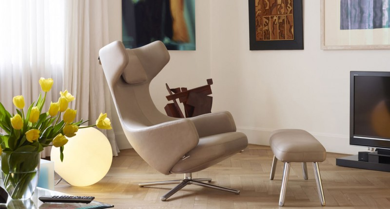 Vitra Grand Repos & Panchina Relaxsessel Lesesessel in Leder beige