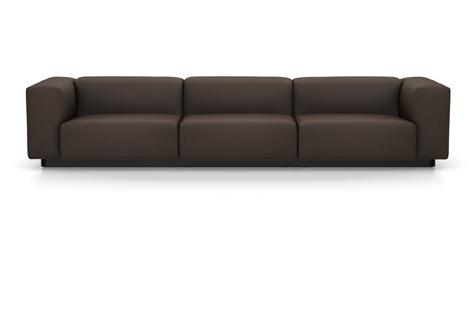 Vitra Soft Modular Sofa Dreisitzer Stoff Iroko 2 teakbraun