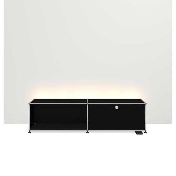 USM Haller E TV/Hi-Fi-Möbel mit dimmbarem Licht schwarz
