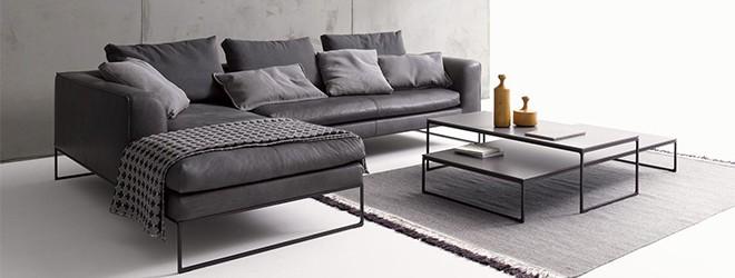 Wohnzimmereinrichtung mit COR Mell Lounge Ledersofa