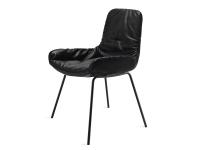 Freifrau Manufaktur Leya Armchair Low Stuhl m. Stahlgestellfuß Leder Orient ebony