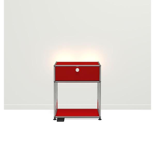 USM Haller E Nachttisch mit dimmbarem Licht rot