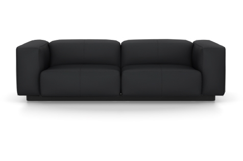 Vitra Soft Modular Sofa Zweisitzer Leder asphalt