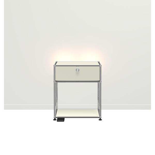 USM Haller E Nachttisch mit dimmbarem Licht lichtgrau