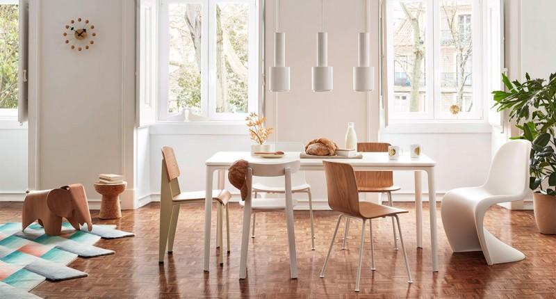 Vitra Plate Dining Table Esstisch mit verschiedenen Vitra Stühlen