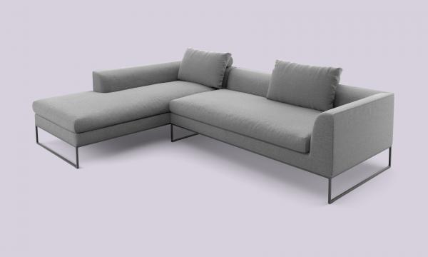 COR Mell Lounge Stoffsofa Sitz- und Liegekombination links Boucléstoff, anthrazit / Gestell schwarz