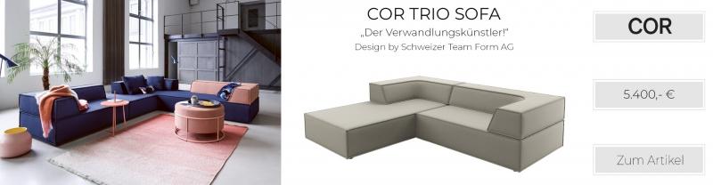 COR Trio Stoffsofa Sitz- und Liegekombination links Chenille-Stoff, taupe