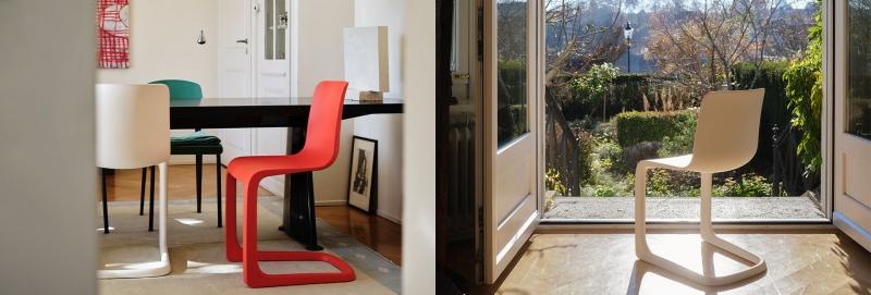 Vitra EVO-C Freischwinger-Stuhl von Jasper Morrison outdoorgeeignet