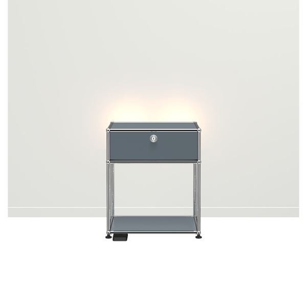 USM Haller E Nachttisch mit dimmbarem Licht mittelgrau