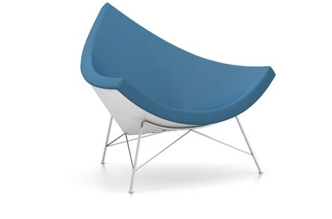 Vitra Coconut Chair Sessel Hopsak (Stoff) blau/moorbraun