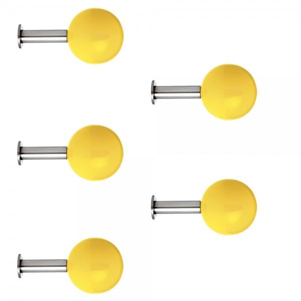 Schönbuch DOTS COLOURS Garderobenhaken gelb (5er Set)