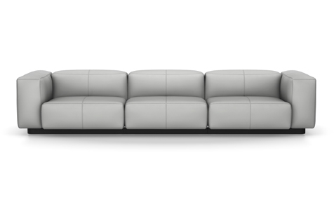 Vitra Soft Modular Sofa Dreisitzer Leder zement