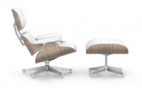 Vitra Lounge Chair & Ottoman Nussbaum weiss pigmentiert Leder Premium snow UG poliert