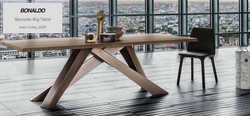 Bonaldo Big Table Esstisch mit Holzplatte und Metallfüßen