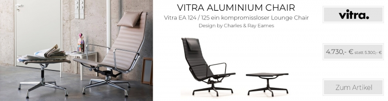 Vitra Aluminium Chair EA 124 / 125 Leder Premium asphalt UG: beschichtet tiefschwarz