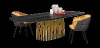JANUA Möbel Esstisch BC 07 Basket Eiche geköhlt Ton schwarz UG: Aluminium eloxiert messingfarben