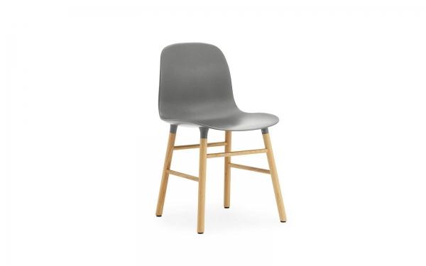 Normann Copenhagen Form Stuhl Wood Sitzschale grau / UG Eiche