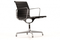 Vitra Aluminium Chair EA 108 Leder nero UG: poliert