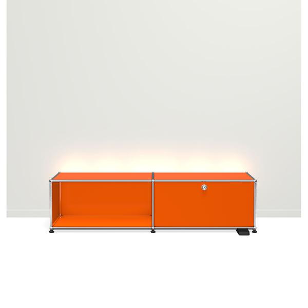 USM Haller E TV/Hi-Fi-M?bel mit dimmbarem Licht reinorange