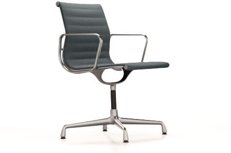 Vitra Aluminium Chair EA 103 Stuhl Hopsak eisblau/moorbraun UG: poliert