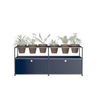 USM Haller Pflanzenwelten Sidebaord mit 2 Klapptueren offenen Faechern 6 Tontoepfen und Zubehoer stahlblau