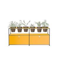 USM Haller Pflanzenwelten Sidebaord mit 2 Klapptueren offenen Faechern 6 Tontoepfen und Zubehoer gelb