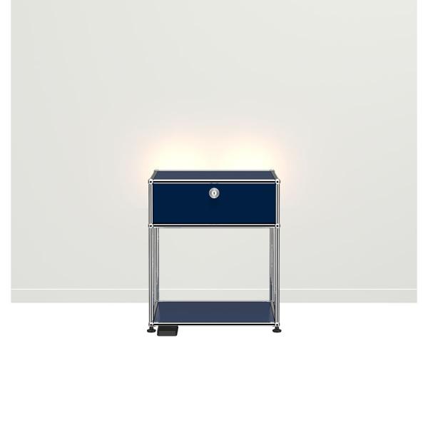 USM Haller E Nachttisch mit dimmbarem Licht stahlblau