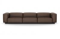 Vitra Soft Modular Sofa Dreisitzer Leder kastanie