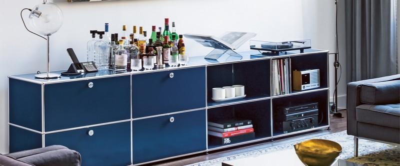 USM Haller Sideboard enzianblau Metallmöbel Bücherboard Lowboard im Wohzimmer