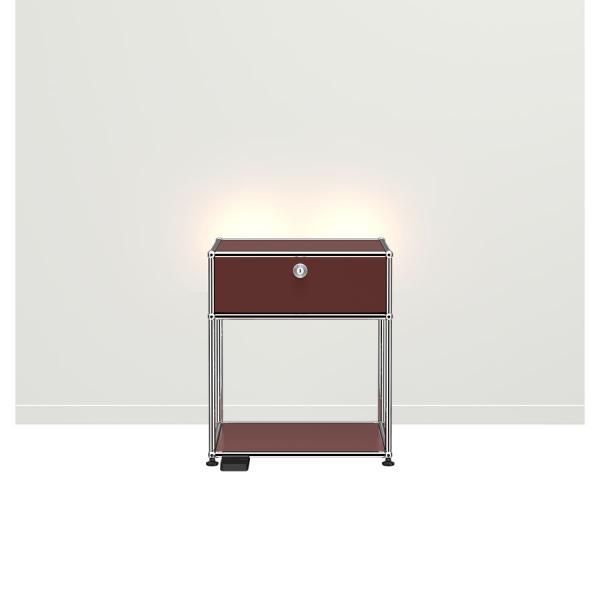 USM Haller E Nachttisch mit dimmbarem Licht USM braun
