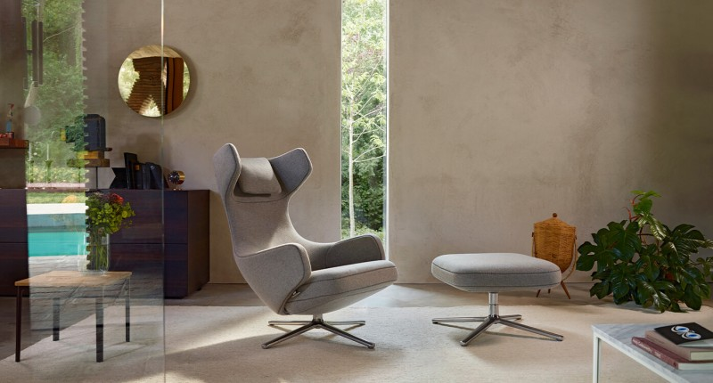Vitra Grand Repos & Ottoman Mello zement Loungesessel