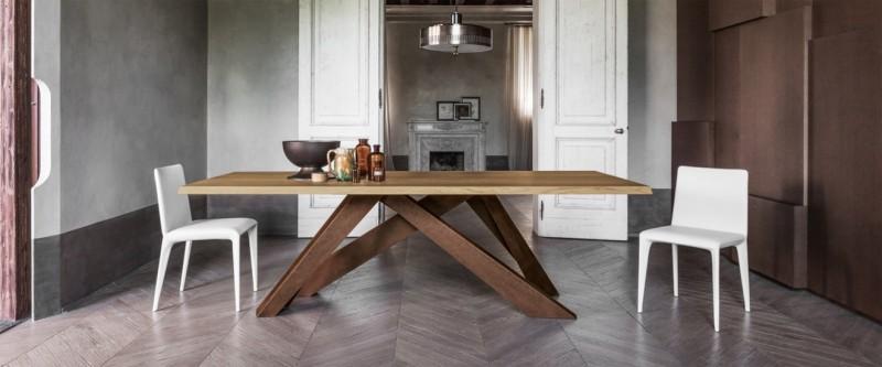 Bonaldo Big Table Esstisch Massivholztisch mit Metalluntergestell