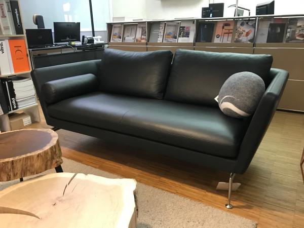 Vitra Suita Sofa 2-Seater Leder nero Ledersofa