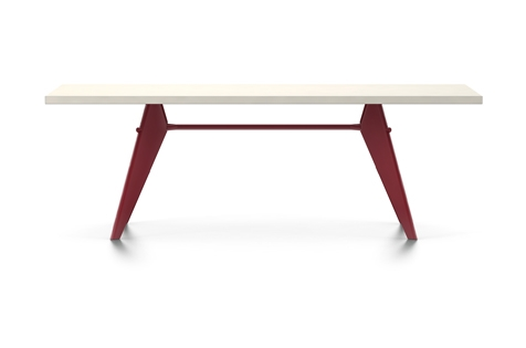 Vitra Prouve EM Table Esstisch HPL 220 cm elfenbein/japanese-red