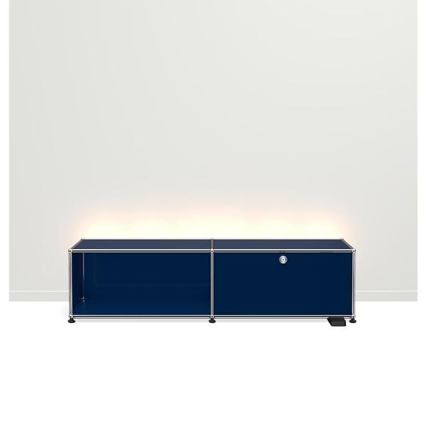 USM Haller E TV/Hi-Fi-M?bel mit dimmbarem Licht stahlblau