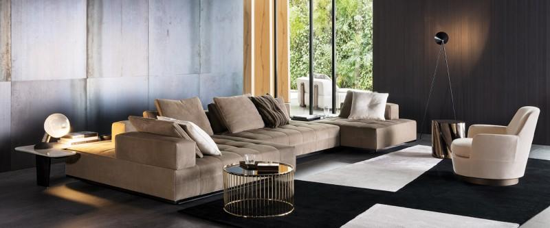 Minotti Lawrence Clean Ledersofa Wohnlanschaft italienische Designmöbel