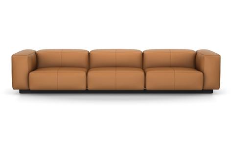 Vitra Soft Modular Sofa Dreisitzer Leder cognac