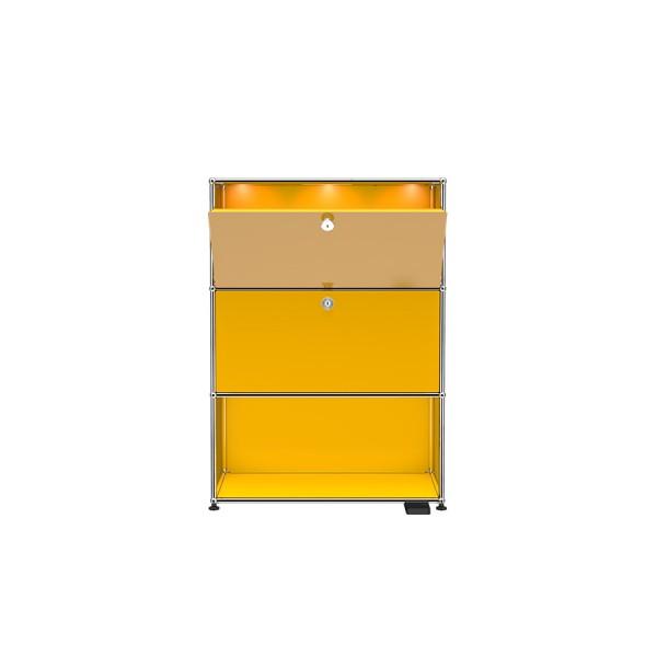 USM Haller E Regal mit dimmbarem Licht und USB-Charger gelb