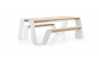 extremis® Hopper Picnic Gartentisch mit Sitzbank B 180 cm Iroko Hartholz UG: weiß, pulverbeschichtet