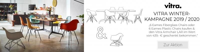 6 Eames Fiberglass Chairs oder 6 Eames Plastic Chairs kaufen - 1x Vitra Armchair LAR im Wert von 439,- € geschenkt bekommen