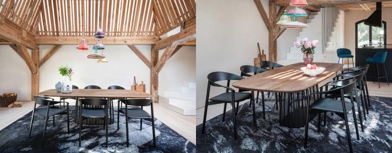 Janua Möbel BC07 Basket Esstisch Holztisch mit Freifrau Stühlen