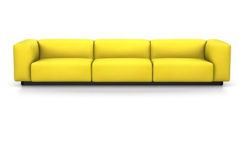 Vitra Soft Modular Sofa Dreisitzer Stoff Iroko 2 limone