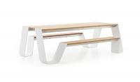 extremis® Hopper Picnic Gartentisch mit Sitzbank B 240 cm Iroko Hartholz UG: weiß, pulverbeschichtet