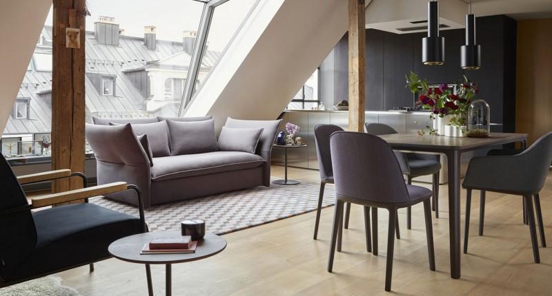Vitra Mariposa Sofa, Eames Segmented Table & Softshell Chair offenes modernes Wohn- & Esszimmer