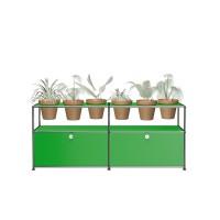 USM Haller Pflanzenwelten Sidebaord mit 2 Klapptueren offenen Faechern 6 Tontoepfen und Zubehoer gruen