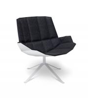 Mueller Moebelfabrikation MARTINI Chair Loungesessel Merino-Filz anthrazitgrau Schale Metall signalweiss