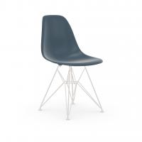 Vitra Eames Plastic Side Chair DSR (neue Höhe) meerblau UG: weiss, pulverbeschichtet